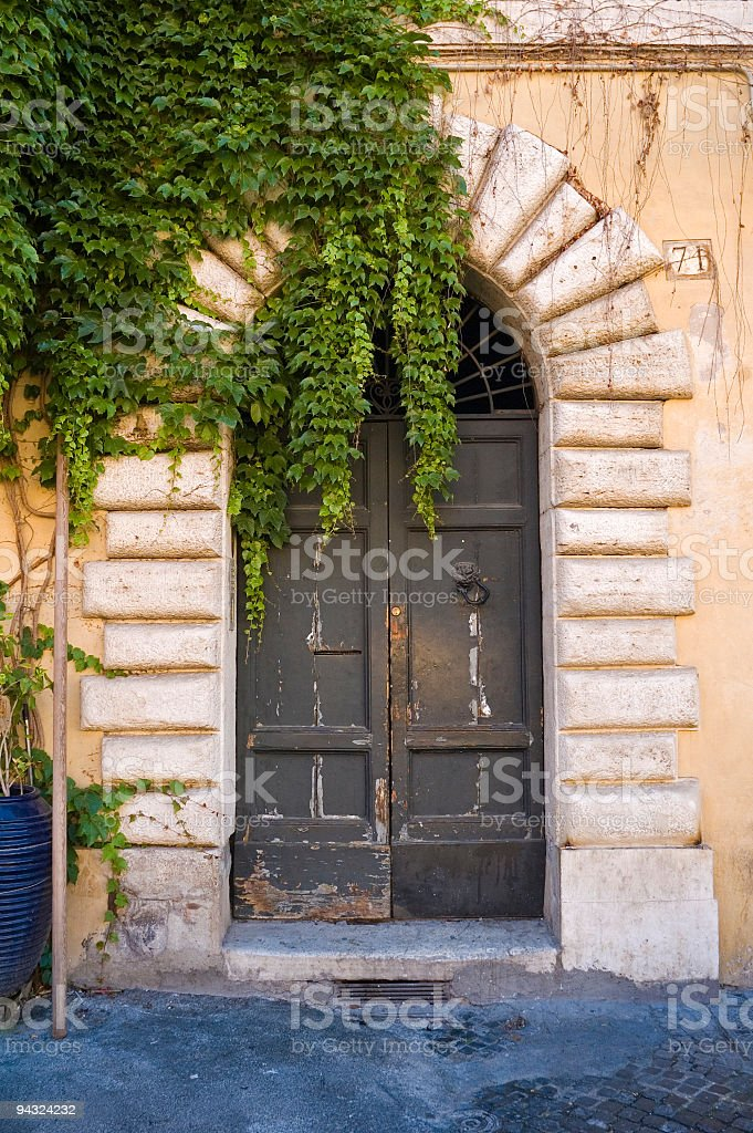 Ivy covered doorway, Rome royalty-free stock photo
