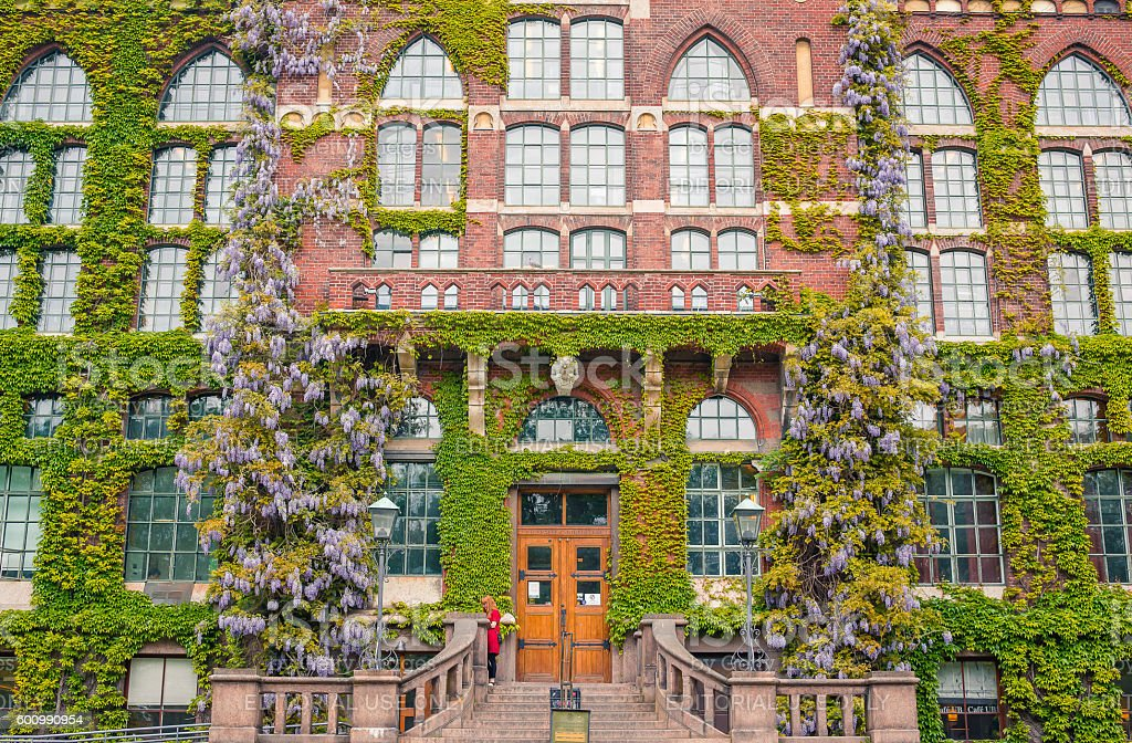 ivy covered university library of Lund, Sweden stock photo