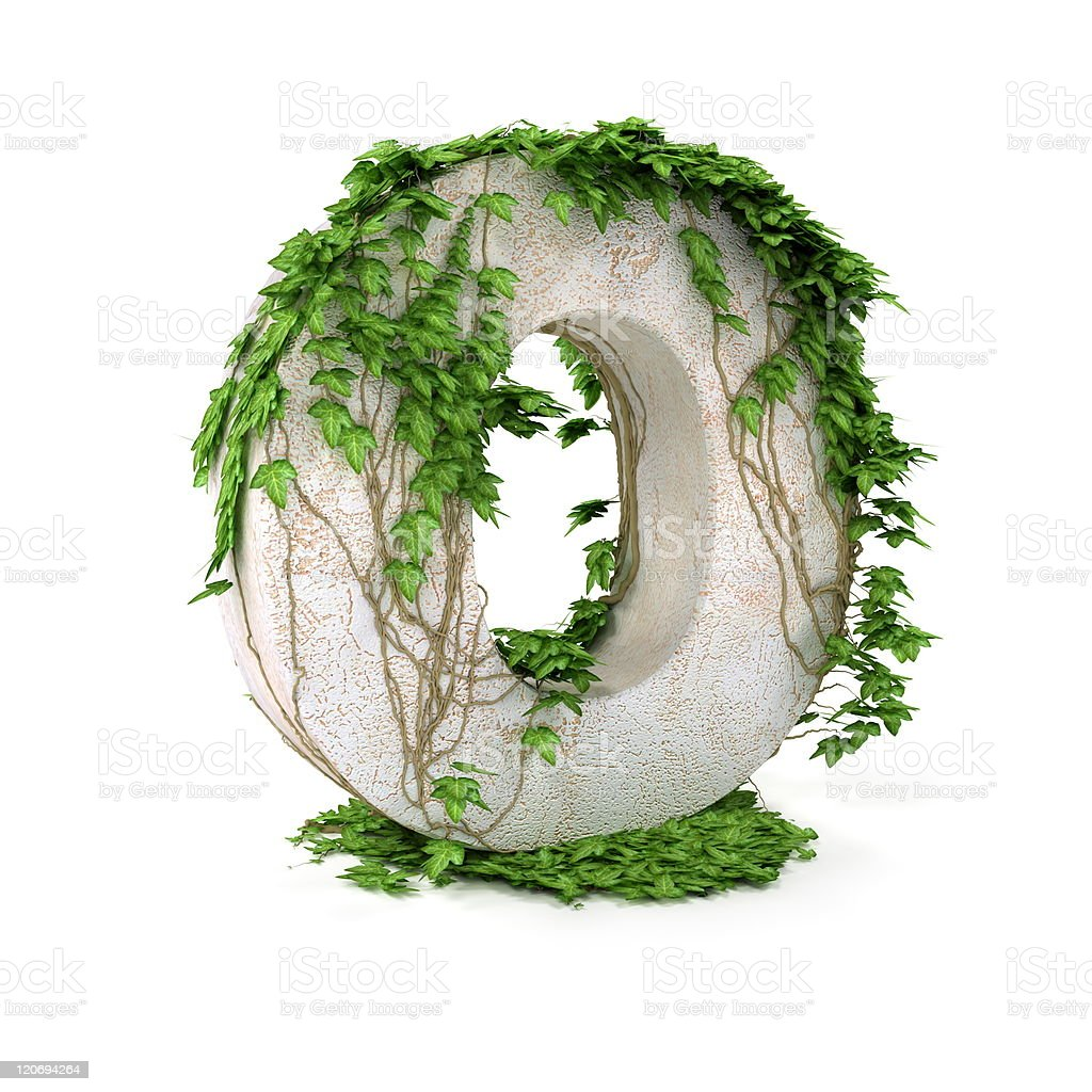 Ivy letter O isolated on white background. royalty-free stock vector art