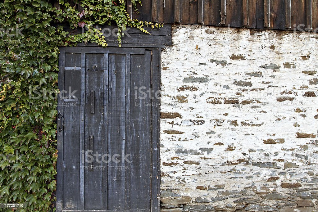Ivy on old whitewashed stone wall with weathered door stock photo