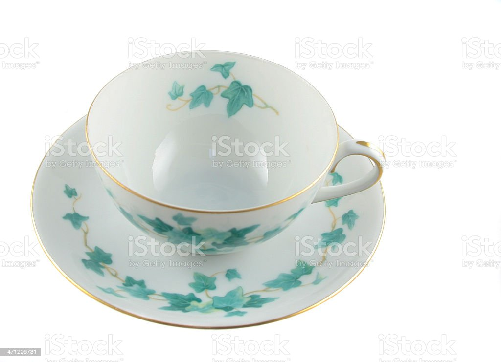 Ivy Patterned Tea Cup stock photo
