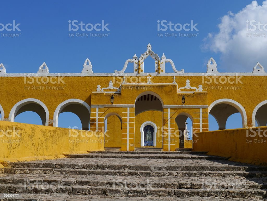 .'Izamal Mexico Yucatan church yellow City monastery convent stock photo