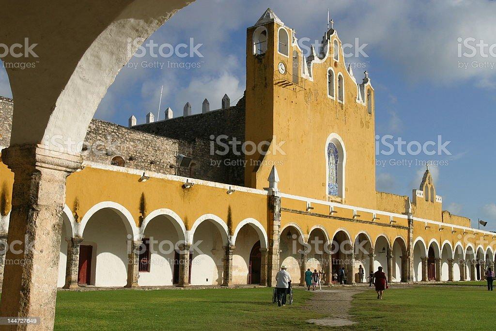 Izamal, yellow city, convent of san antonio stock photo