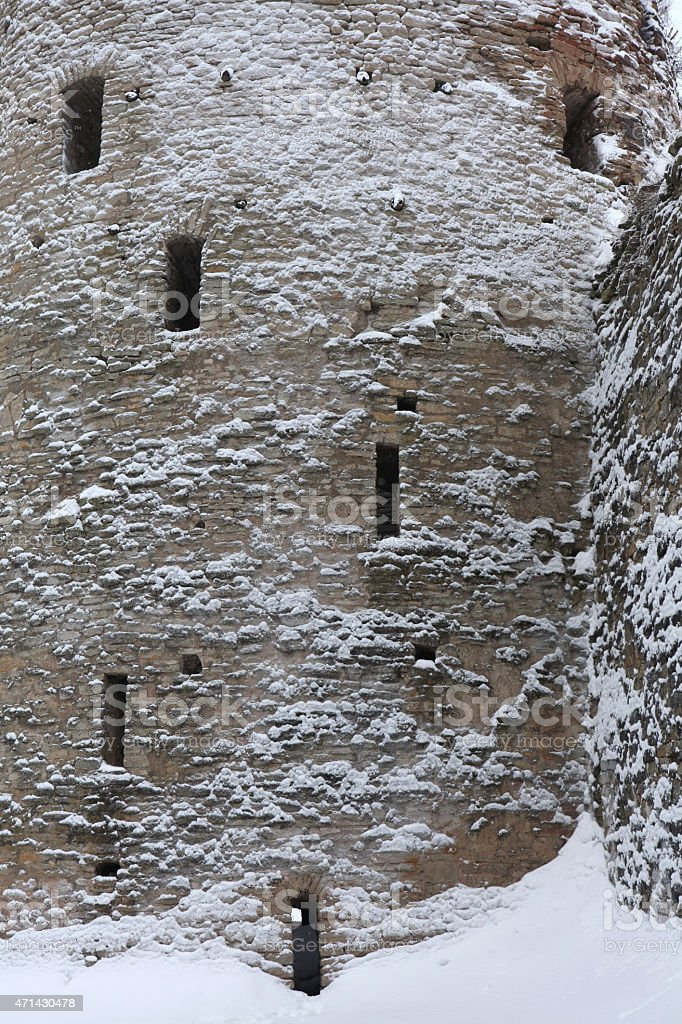 Izborsk Fortress near Pskov, Russia. Russian winter. stock photo