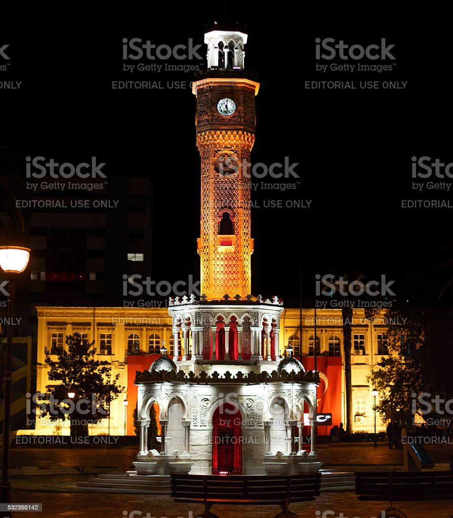 Izmir clock tower at night stock photo