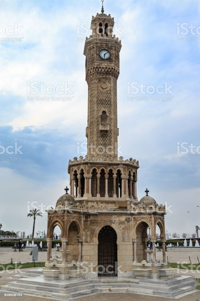 Izmir watch tower (saat kulesi) in konak square stock photo