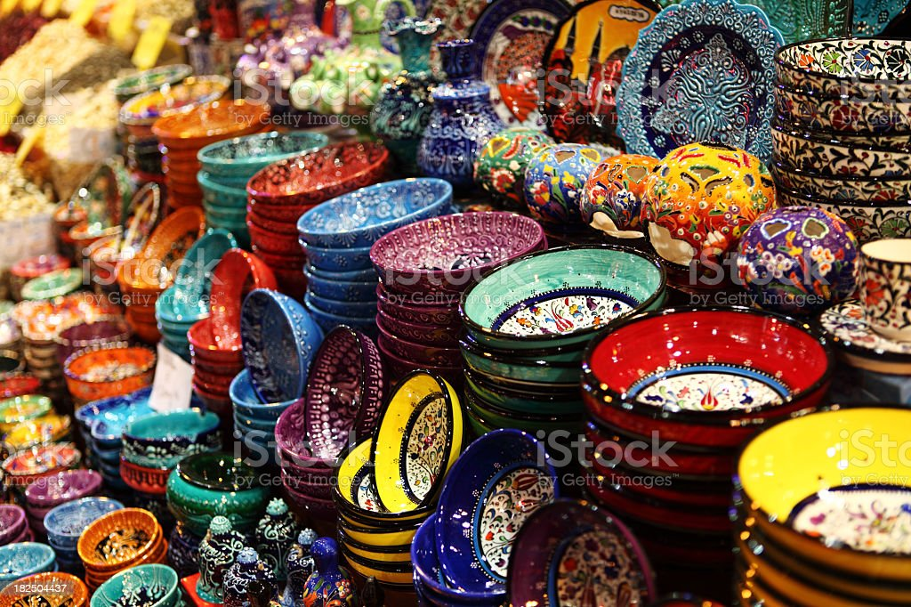 Iznik Pottery Bowl display handicraft Design Misir Carsisi Spice royalty-free stock photo