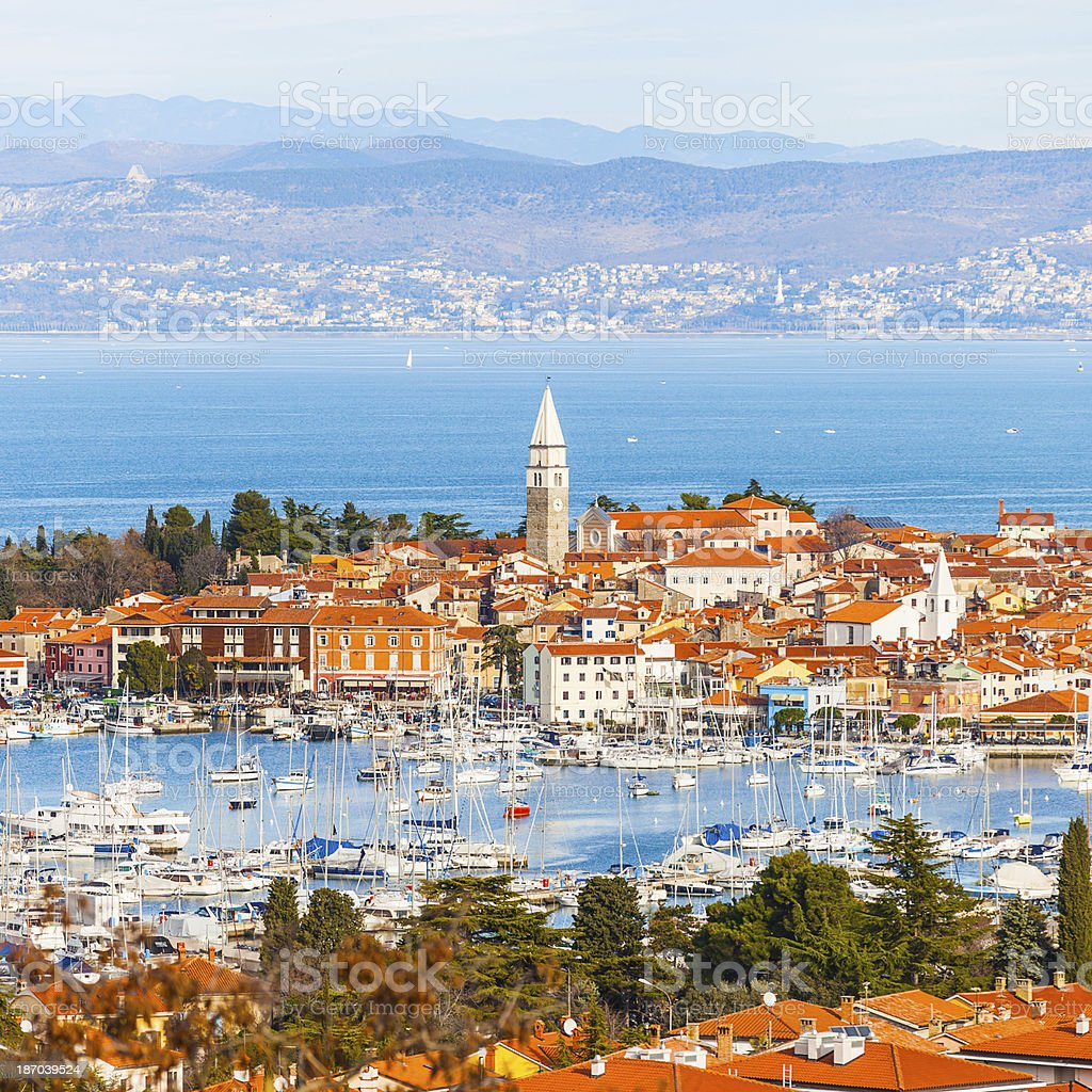Izola town with marina, Slovenia royalty-free stock photo
