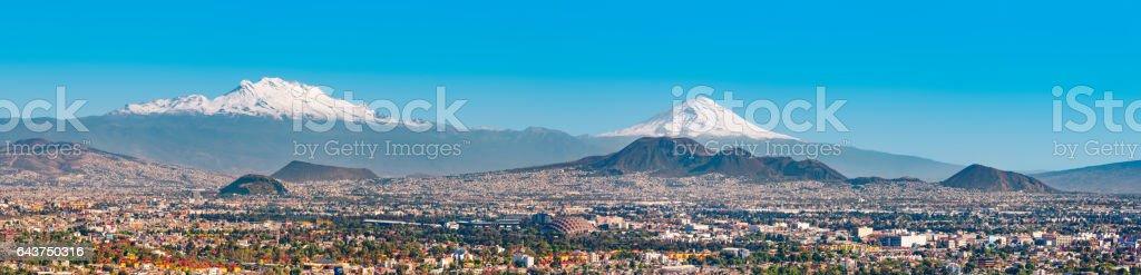 Iztaccihuatl and Popocatepetl volcanoes and Mexico City stock photo