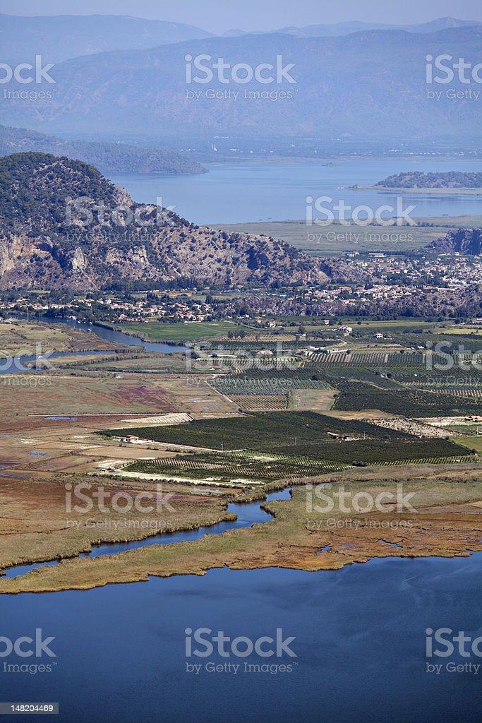 Iztuzu beach and delta of Dalyan river stock photo
