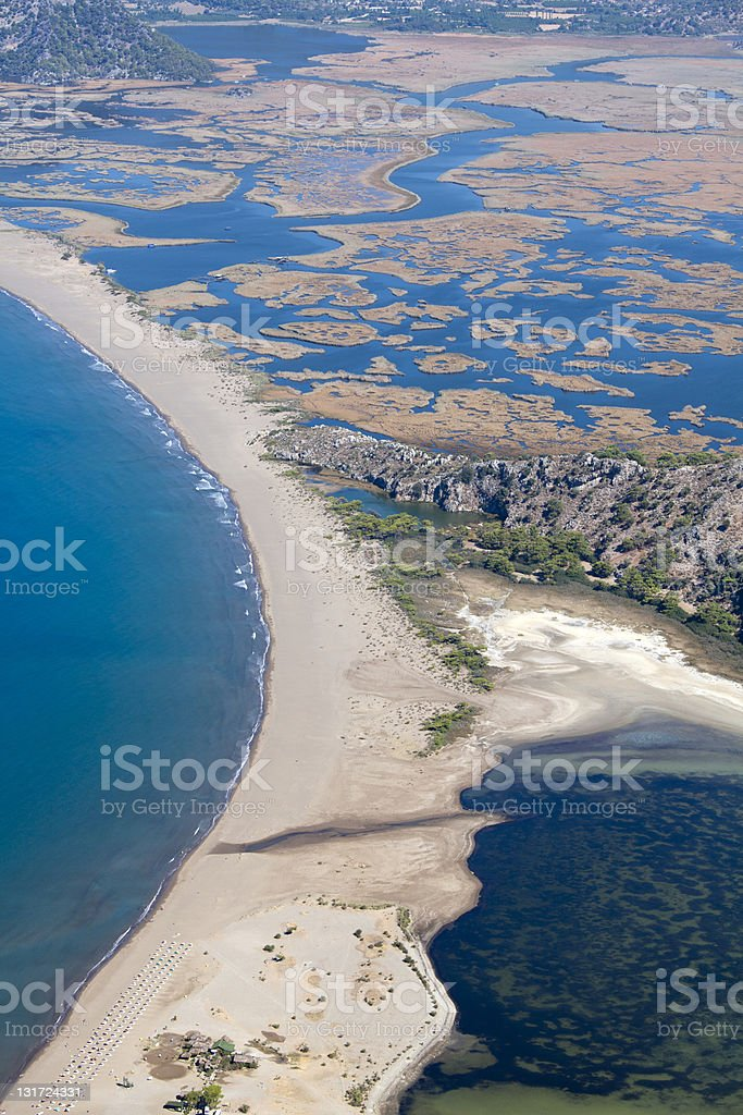 Iztuzu beach and the delta of Dalyan river stock photo