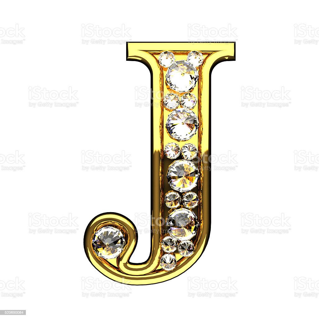 j isolated golden letters with diamonds on white stock photo