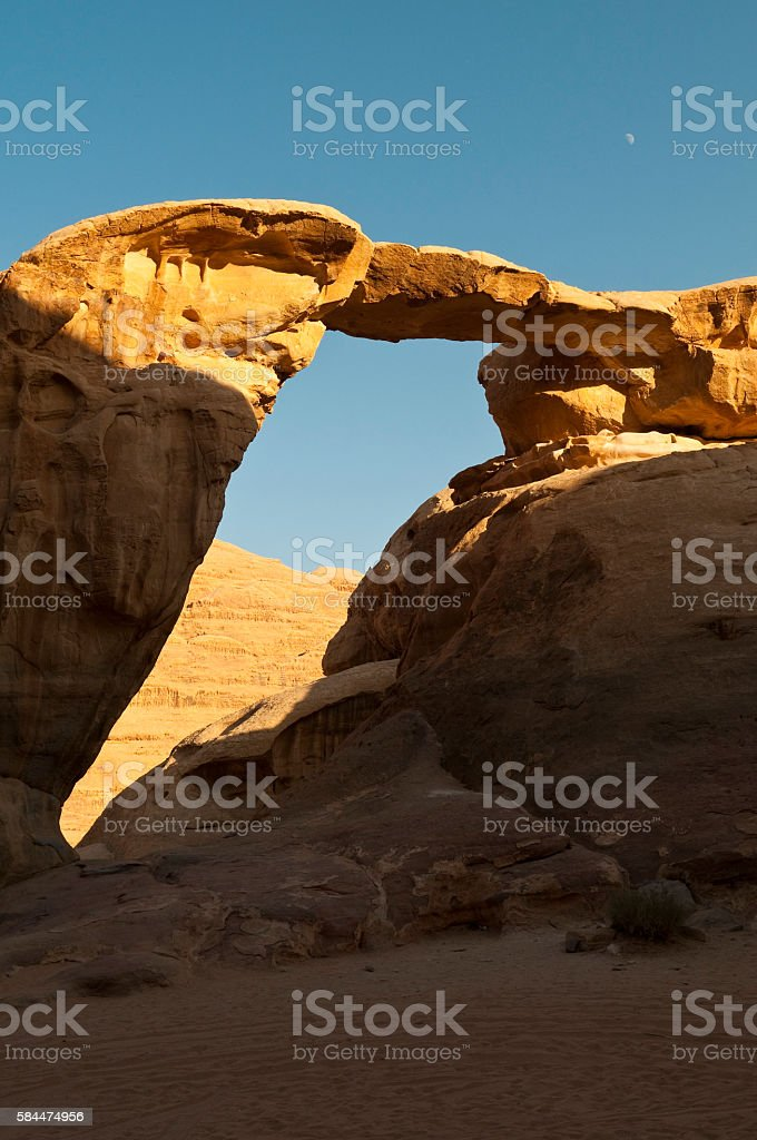 Jabal Umm Fruth rock bridge in Wadi Rum, Jordan stock photo