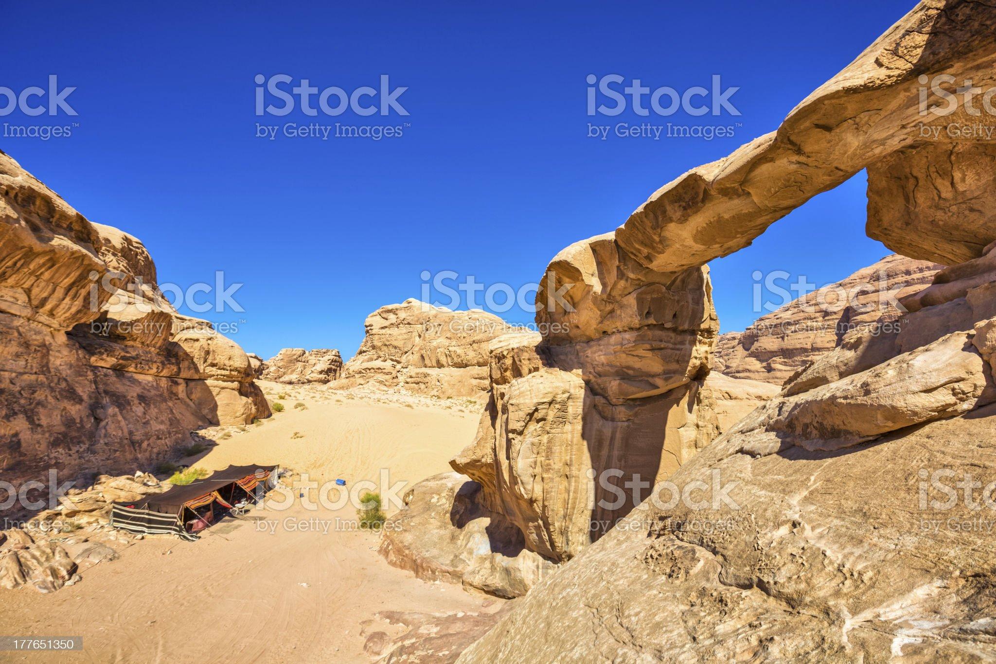 Jabal Umm Fruth Rock Bridge - Wadi Rum / Jordan royalty-free stock photo