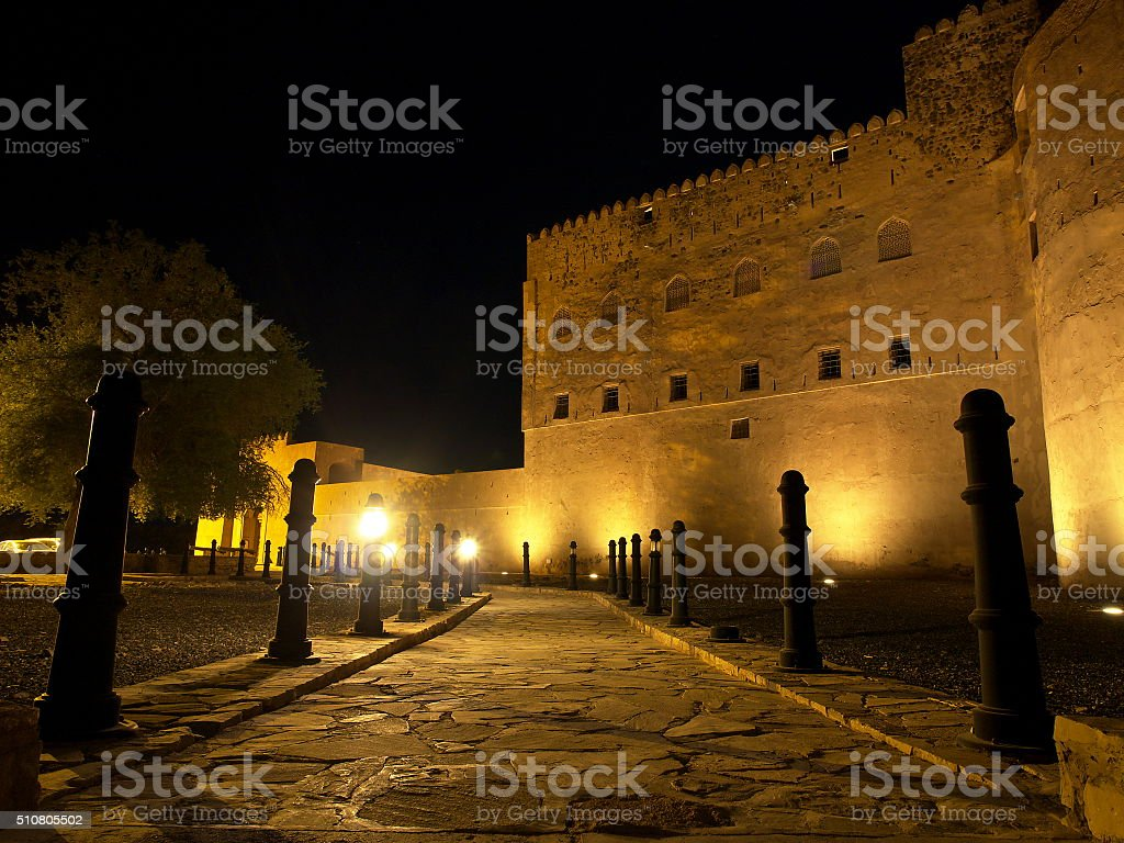 Jabreen castle at night stock photo