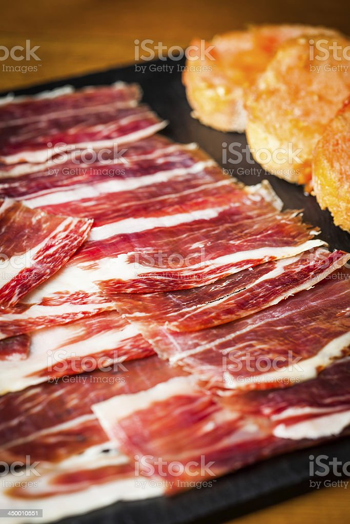 Jabugo ham stock photo