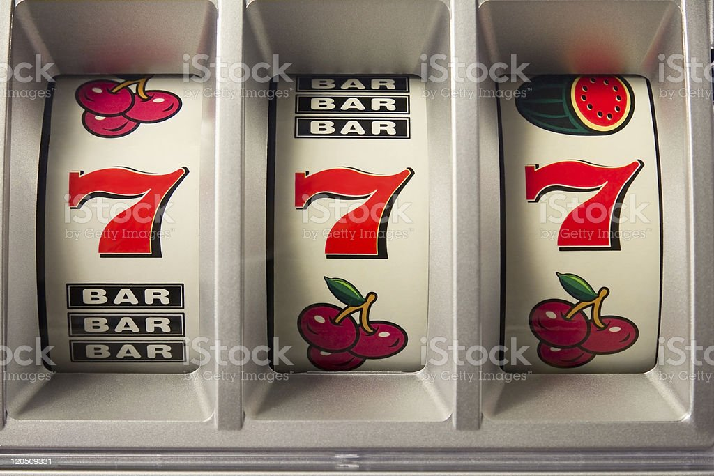 Jachpot with three times 7 royalty-free stock photo
