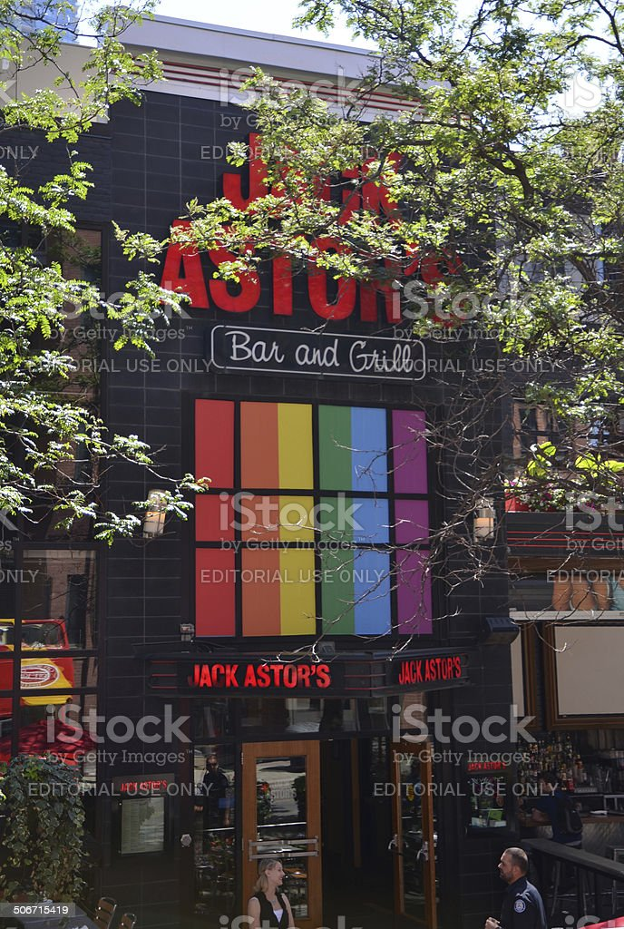 Jack Astor's Bar and Grill shows gay pride support stock photo