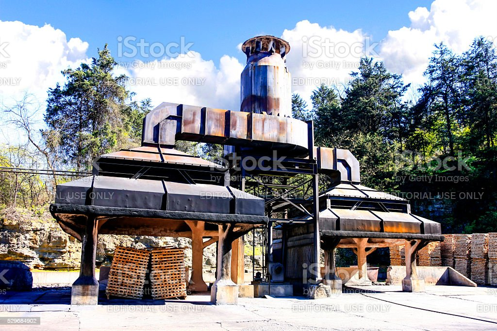 Jack Daniels Charcoal maker furnace in Lynchburg Tennessee stock photo