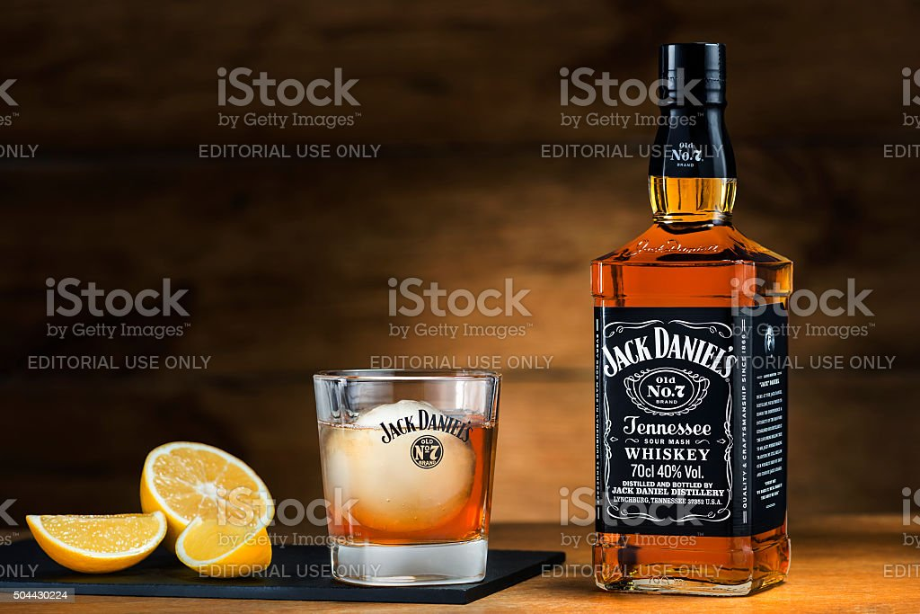 Jack Daniel's served with ice ball stock photo