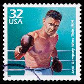 USA Jack Dempsey postage stamp