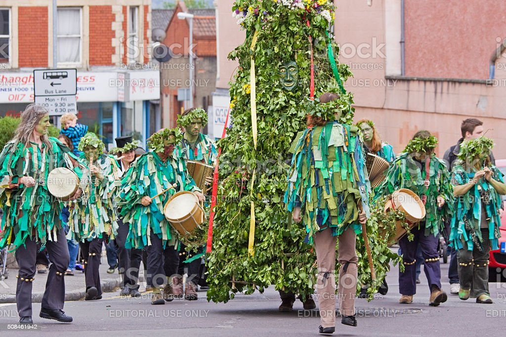 Jack in the Green is paraded through Bristol UK stock photo