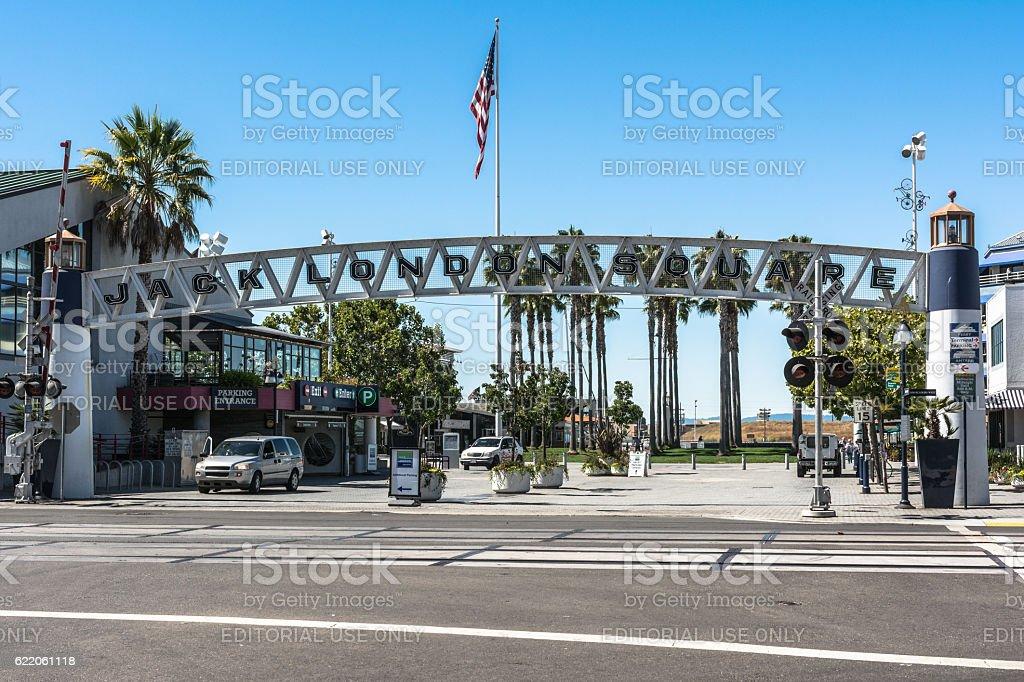 Jack London Square Dock entrance in Oakland, California stock photo