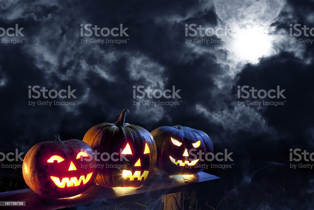 Jack O' Lantern in moonlight stock photo
