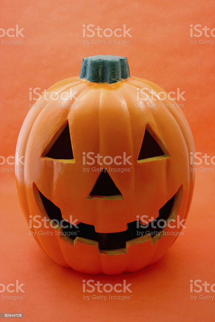 jack 'o lantern on orange royalty-free stock photo