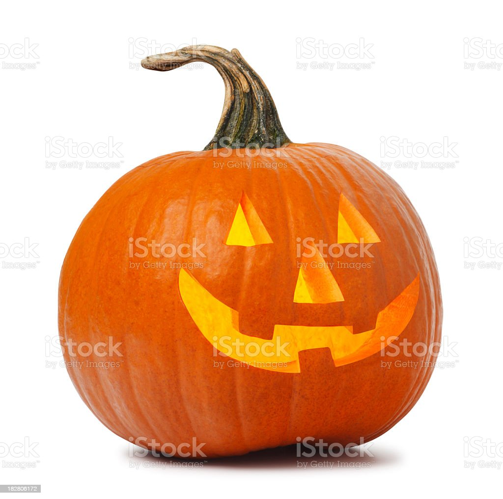 Jack O' Lantern on white background stock photo