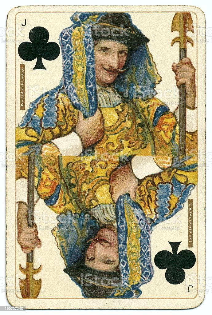 Jack of Clubs original Shakespeare vintage Dondorf playing card stock photo