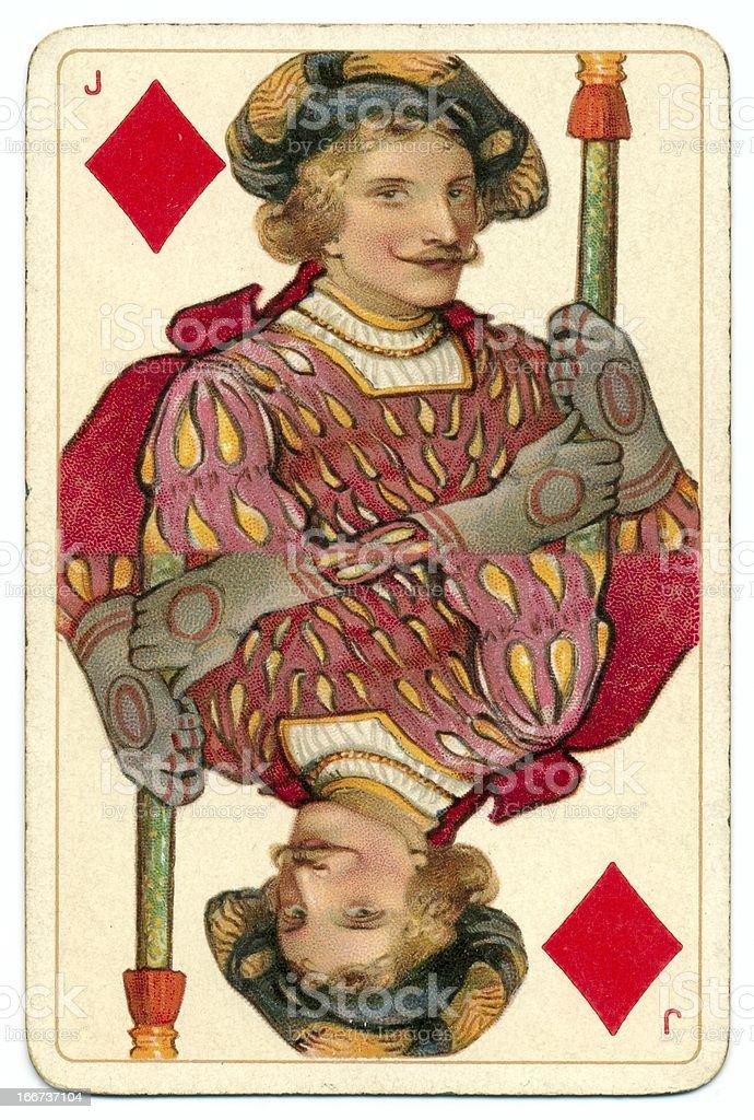 Jack of Diamonds original Shakespeare vintage Dondorf playing card stock photo