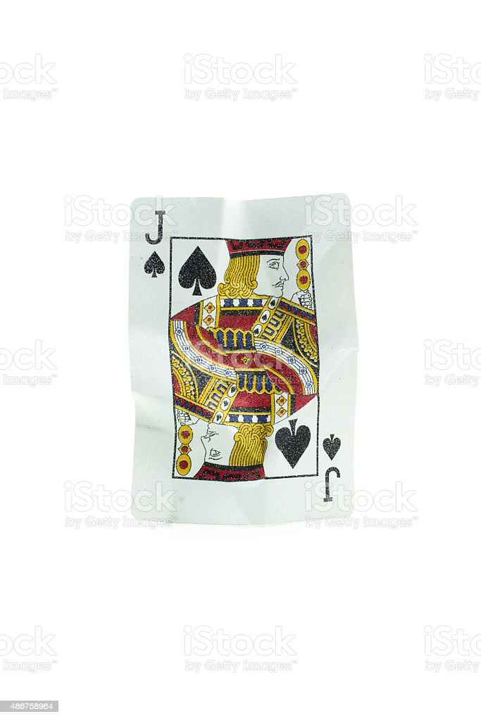 Jack of spades Crumpled Playing Cards on white background stock photo