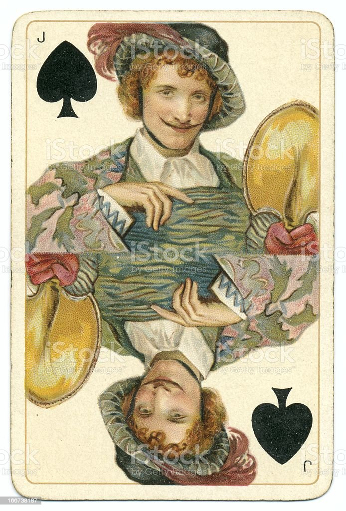 Jack of Spades original Shakespeare vintage Dondorf playing card stock photo