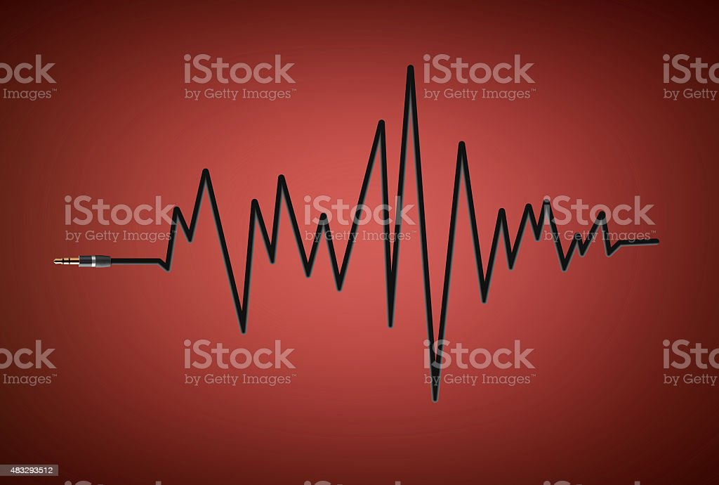 Jack plug with cable in the shape of sound wave stock photo