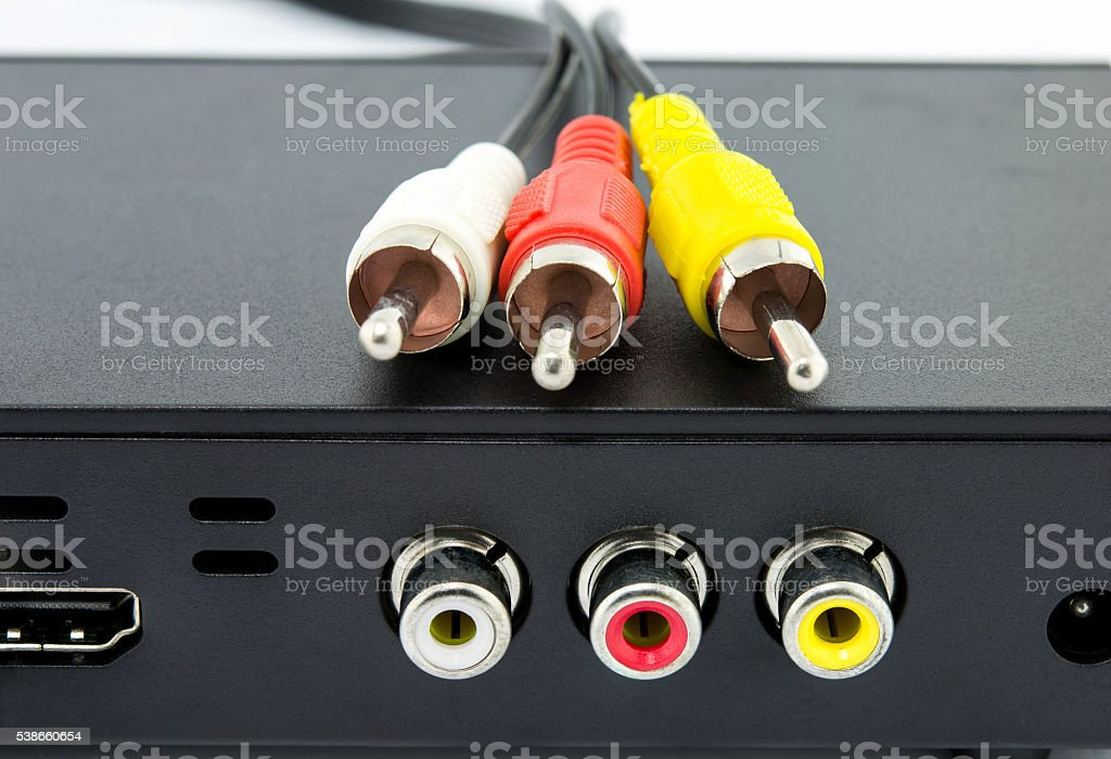 jack red  and yellow white cables stock photo