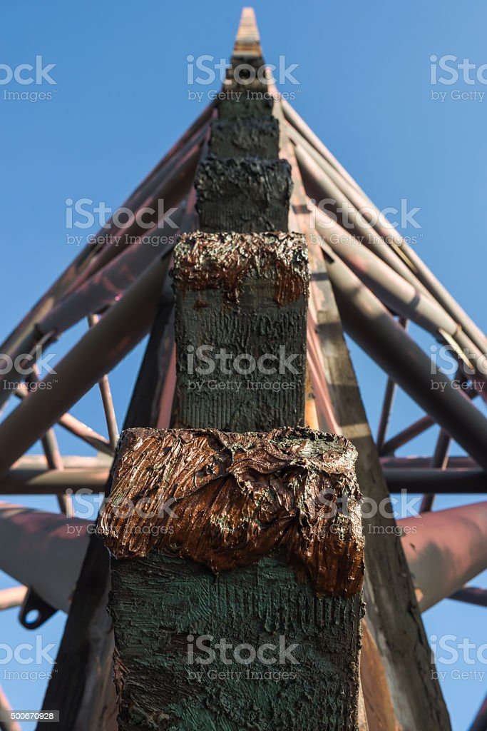 jack up oil rig leg when up for rig move stock photo