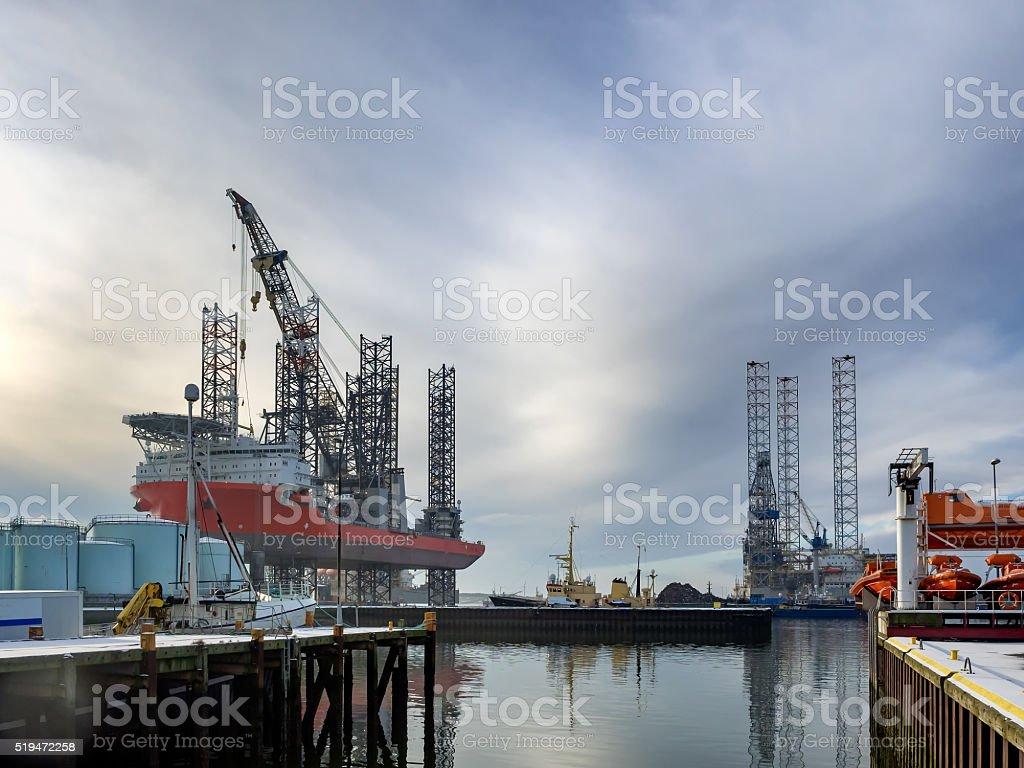 Jack up rig in Esbjerg oil harbor, Denmark stock photo