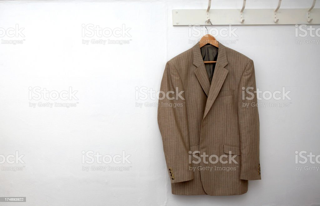 Jacket hanging on the wall stock photo