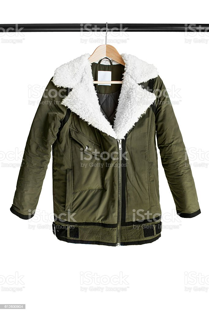 Jacket on clothes rack stock photo