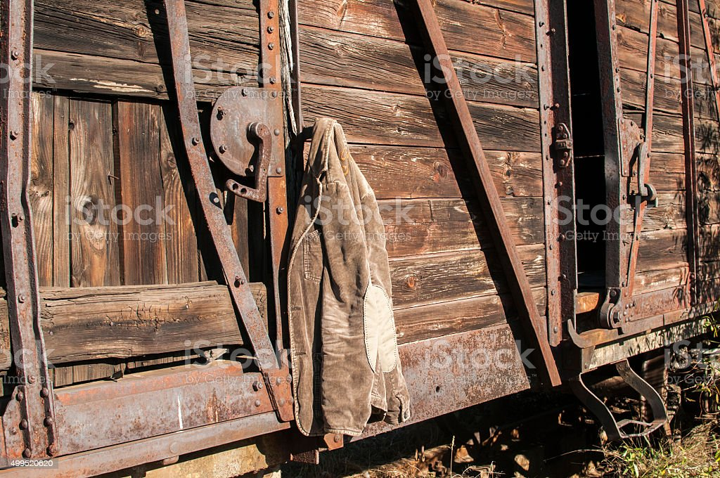 Jacket on wooden wall stock photo