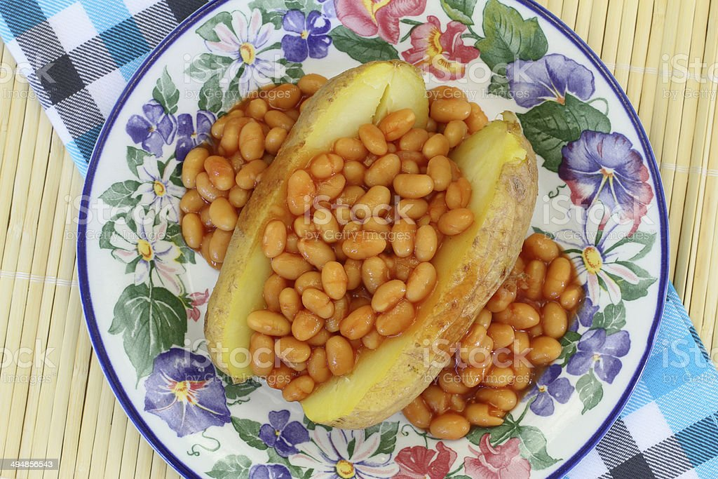 Jacket potato with baked beans royalty-free stock photo
