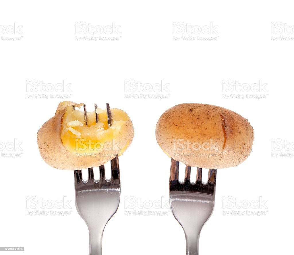 jacket potatoes on a fork isolated stock photo