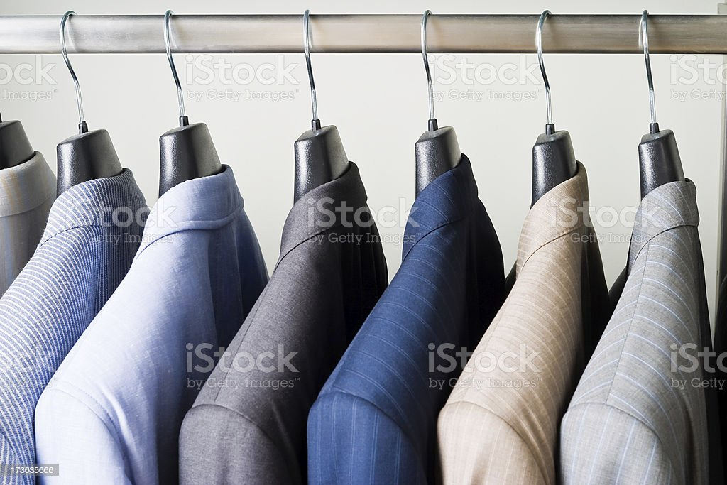 Jackets in shop. stock photo
