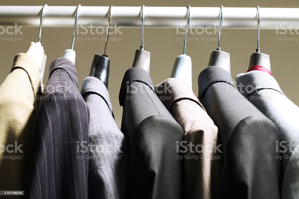 Jackets in wardrobe stock photo