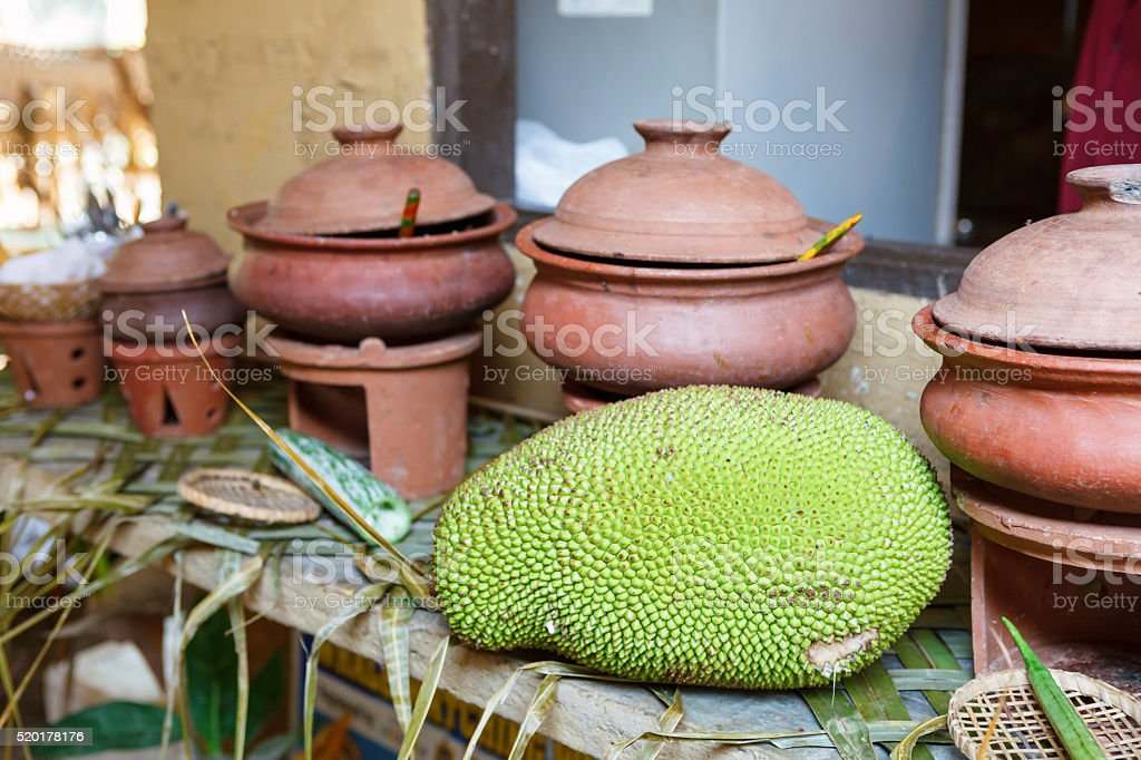 Jackfruit on the table stock photo