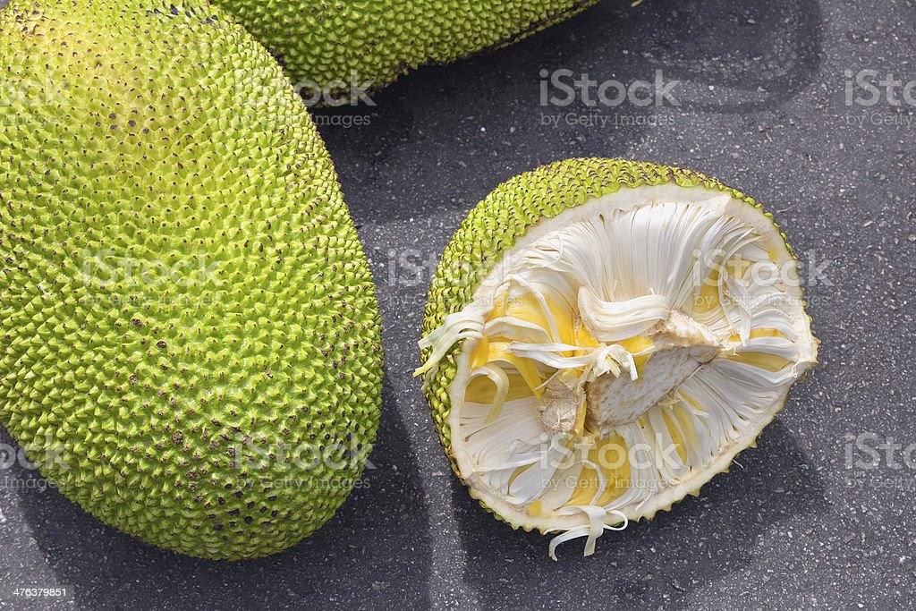 Jackfruit Whole and Open at Fruit Stall stock photo