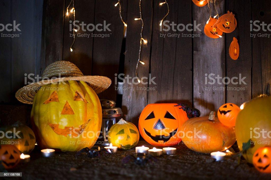 Jack-o-lantern on a dark background stock photo