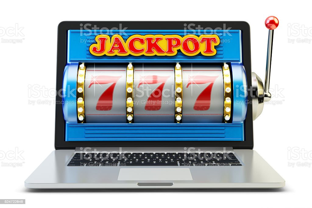Jackpot, gambling gain, luck and success concept, casino app stock photo