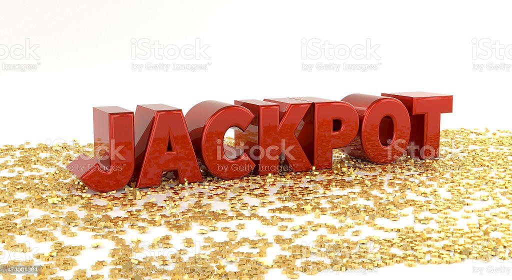 Jackpot - Red text on gold stars - 3D Render stock photo